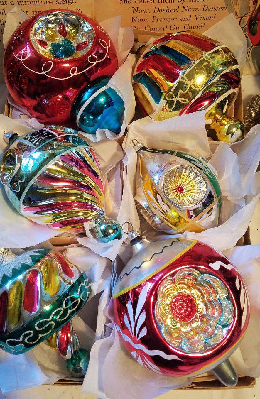 6 Antique Vintage German Jumbo Fancy Glass Christmas Ornaments Vintage Christmas Ornaments Vintage Christmas Glass Christmas Ornaments