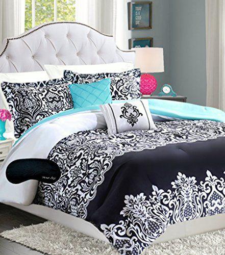 teen girls 5 pc black white teal aqua damask comforter. Black Bedroom Furniture Sets. Home Design Ideas