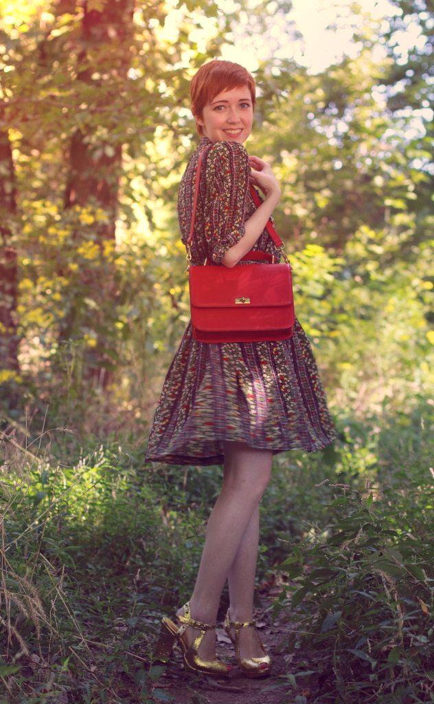 Outfit details:  old school cardigan  Lauren Moffatt dress  Nanette Lepore heels, gift  J Crew Edie purse
