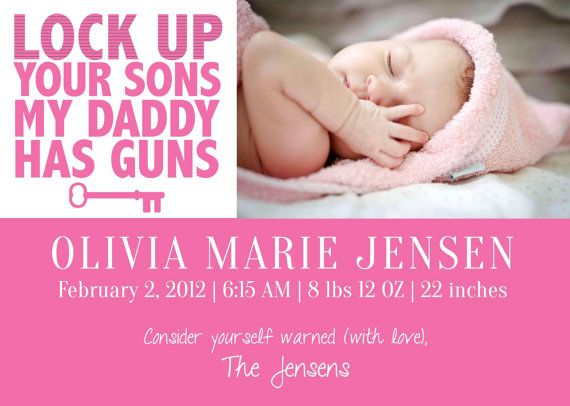 Funny Custom Digital Baby Girl Photo Birth Announcement  - baby born küche