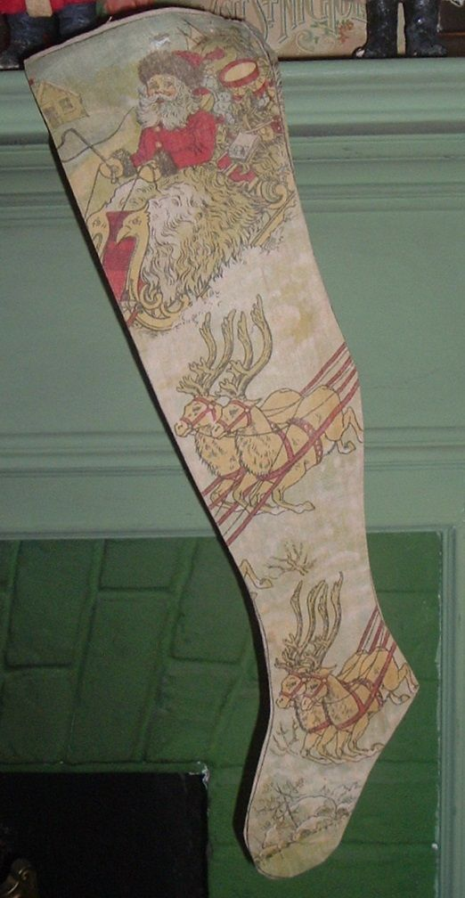 Antique Printed Linen Christmas Stocking With Santa & His Reindeer