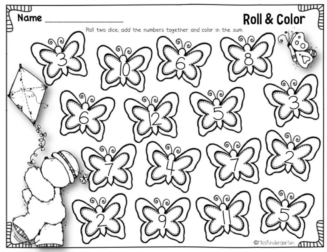 miss kindergarten  roll 2 dice  u0026 cover the sum