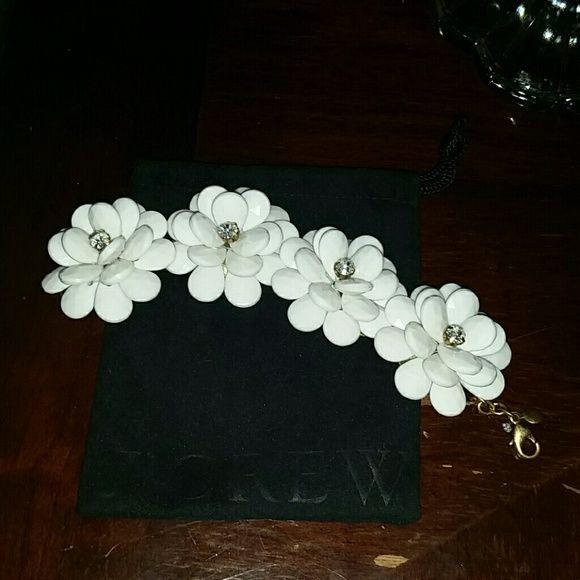 Jcrew Bracelet Pretty white flower with rhinestone bracelet. Comes with velvet jcrew bag. jcrew Jewelry Bracelets