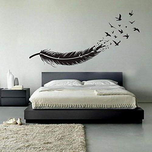 Abstract Feather Into Birds Vinyl Wall Decal Custom Your Color - Vinyl wall decals abstract