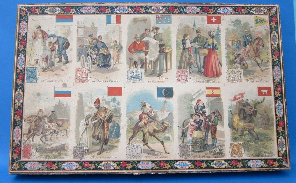 Seltenes, altes Holzpuzzle mit Briefmarken und Ländern