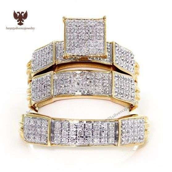 His And Her Trio Wedding Rings Set 1 00ct Diamond 14k Yellow Gold Trio Ring Set Eba Wedding Ring Trio Sets Cheap Wedding Rings Sets Rings Mens Wedding Bands