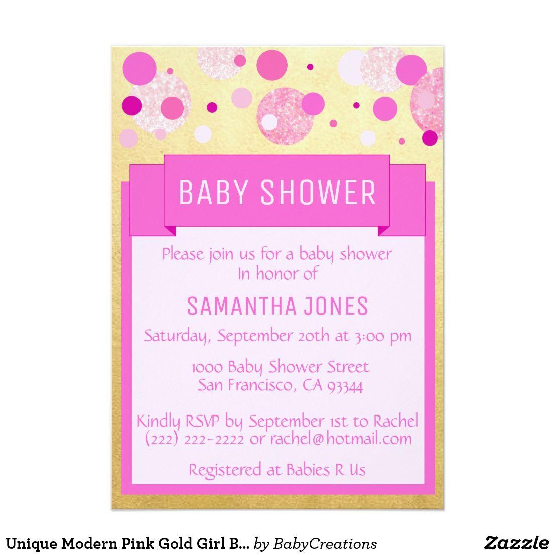Unique Modern Pink Gold Girl Baby Shower Sprinkle Card Impress your ...