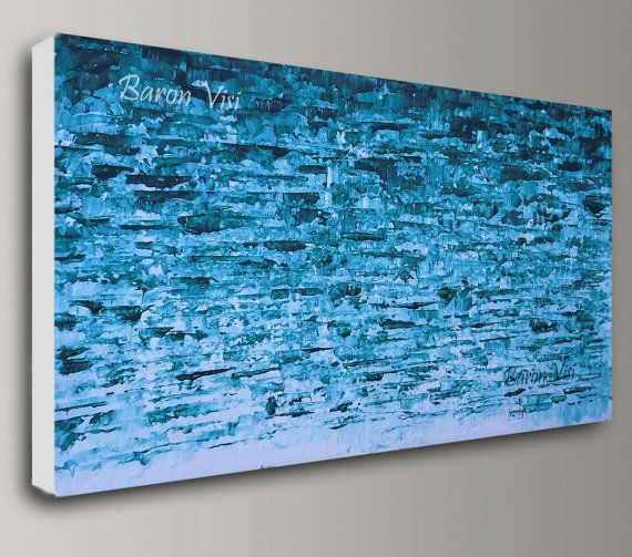 Teal bleu peinture abstraite acrylique grand originale maison bureau - peinture murale interieur maison