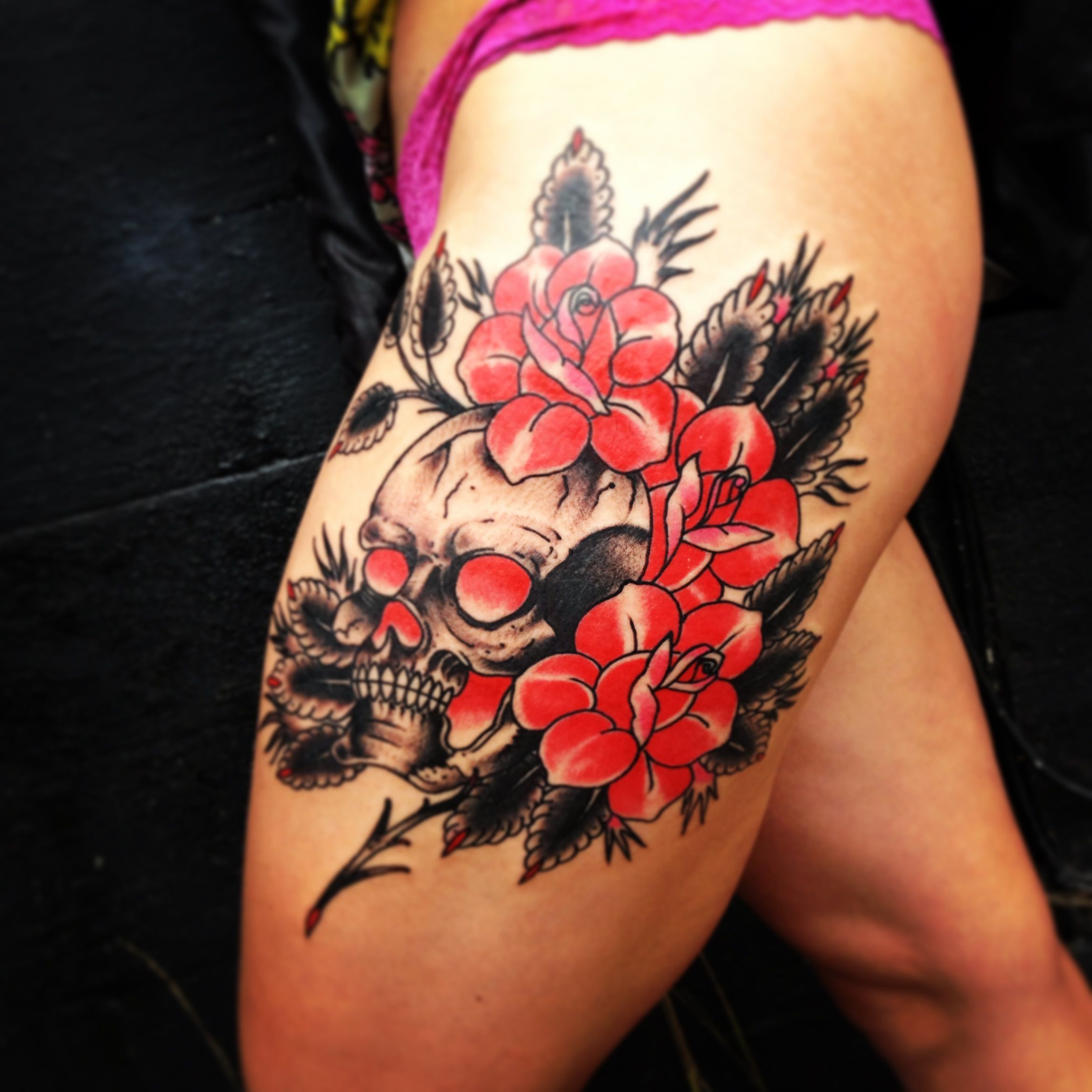 American traditional skull and roses by Charley Reynoso of ...