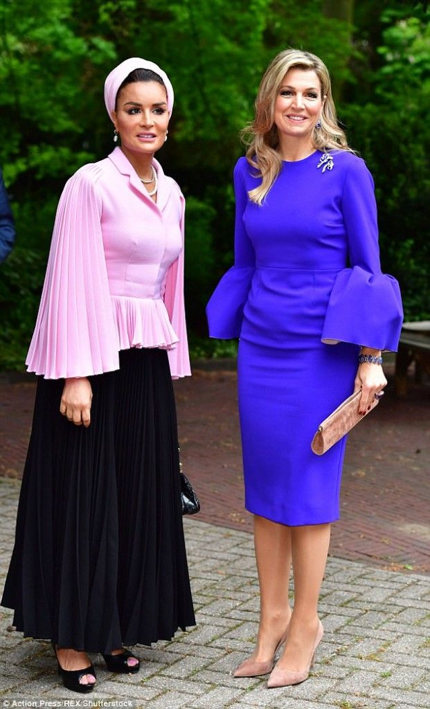 Queen Máxima and Sheikha Mozah bint Nasser attended the opening of the international seminar 'Law, Education and the SDG's' at The Hague Institute for Global Justice