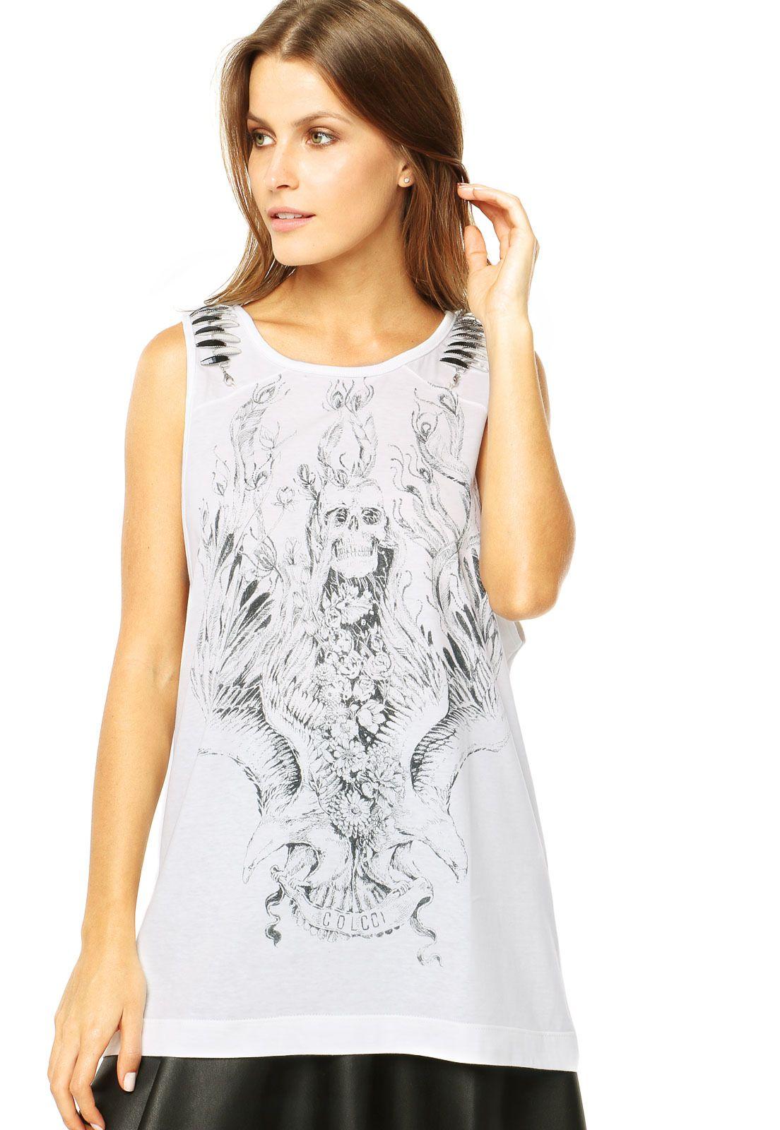 297384138 Regata Colcci Skull Branca - Compre Agora | Dafiti Brasil | T-Shirt