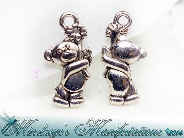 !25 Antq Silver Finish Teddy Bear Charms 19x9mm. Starting at $3 on Tophatter.com!