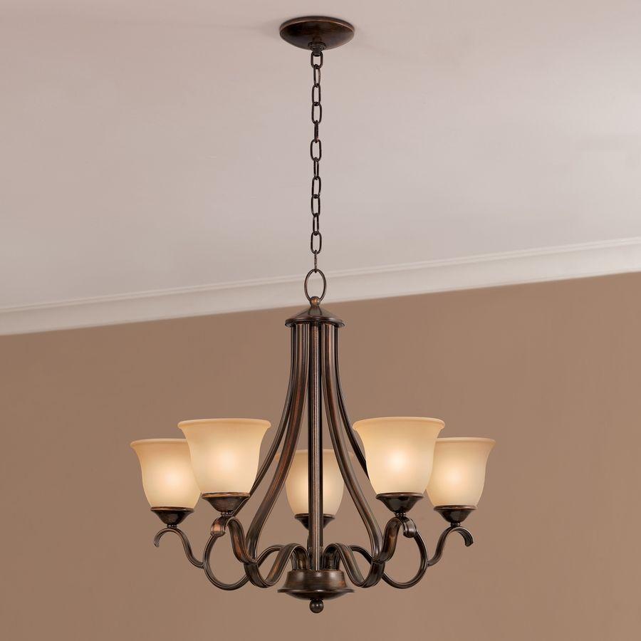 Shop Portfolio Danrich Marina 5-Light Black Bronze W/Red Chandelier ...