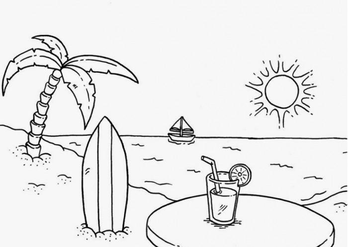 50 Gambar Sketsa Lukisan Pemandangan Alam Hitam Putih Yang Indah In 2020 Beach Coloring Pages Summer Coloring Pages Free Coloring Pages