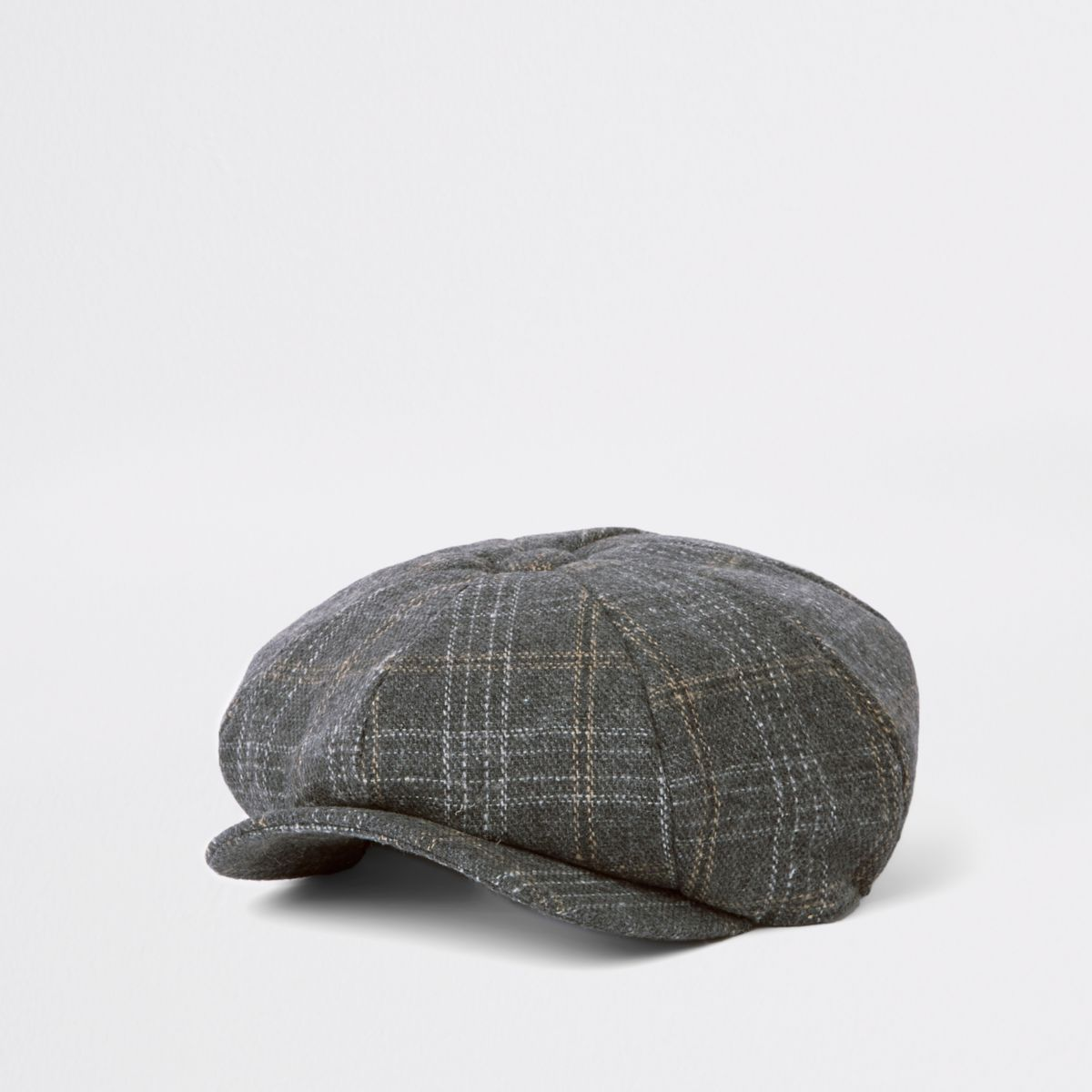 7a46965e2d4 Dark grey check baker boy cap in 2018