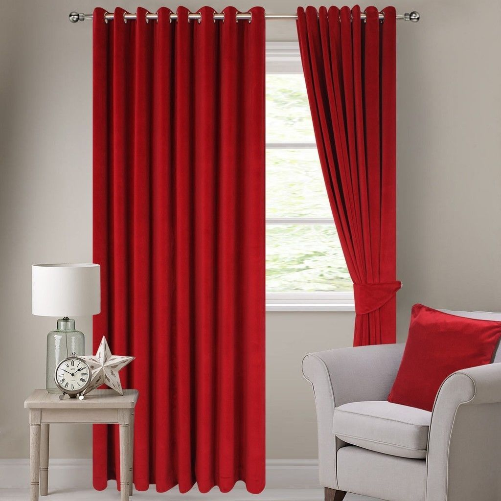 Red velvet window curtains - 2 Pc Solid Lined 48 X84 Grommet Red Velvet Window Curtain Drape