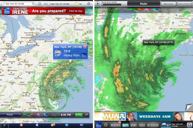 The photo on the left is a screenshot of Hurricane Irene