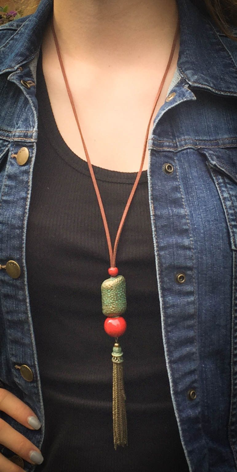 Tassel Me Pretty - Brass Tassels Necklace With Red Ceramic Beads