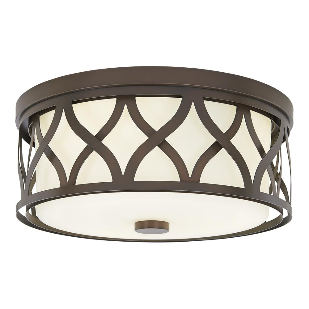 Home Decorators Collection 3 Light Harvard Court Bronze Flush Mount With Etched White Glass 23957 Flush Mount Ceiling Lights Flush Mount Lighting White Glass