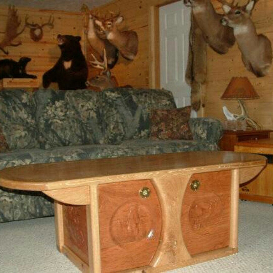 Custom Oak Coffee Table With Wood Carved Cabinet Doors And Side Panels For  Hunter Mancave.