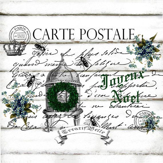 French Christmas Post Card  Large A4 Instant by CreatifBelle