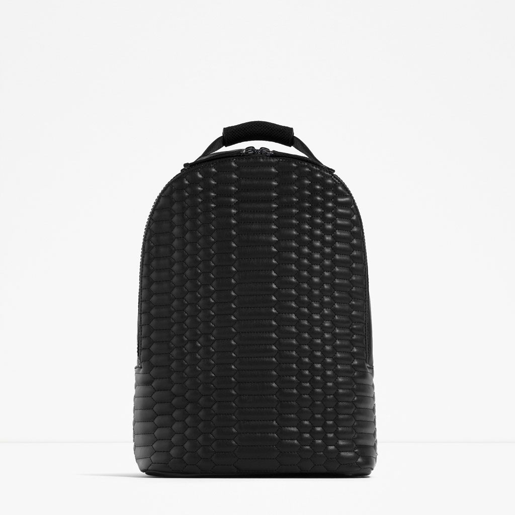 QUILTED BLACK BACKPACK - View all-BAGS-MAN | ZARA Hungary ... : quilted rucksack zara - Adamdwight.com