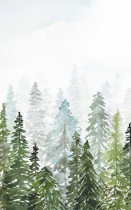 Wallpaper Trees Pinetree Watercolor Painting Iphone