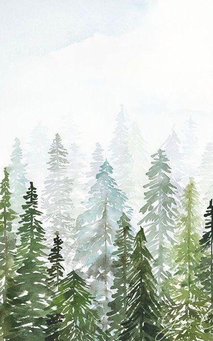 Wallpaper Trees Pinetree Watercolor Painting Iphone Lockscreen Art Drawing Watercolor Art Prints Watercolour Inspiration Watercolor Art