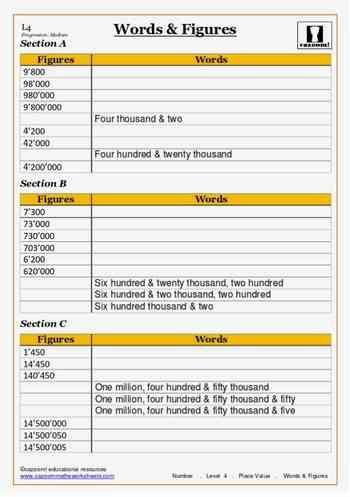 Words And Figures Maths Worksheet Math Worksheet Math Worksheets
