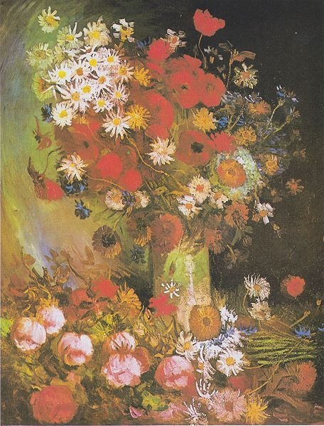 Van Gogh Vase Mit Mohn Und Kornblumen Pfingstrosen Und Chrysanthemen Van Gogh Gemalde Art Van Kunstwerke