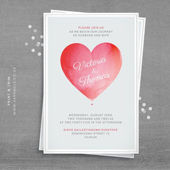 watercolour heart wedding invitation by karameleshop on etsy