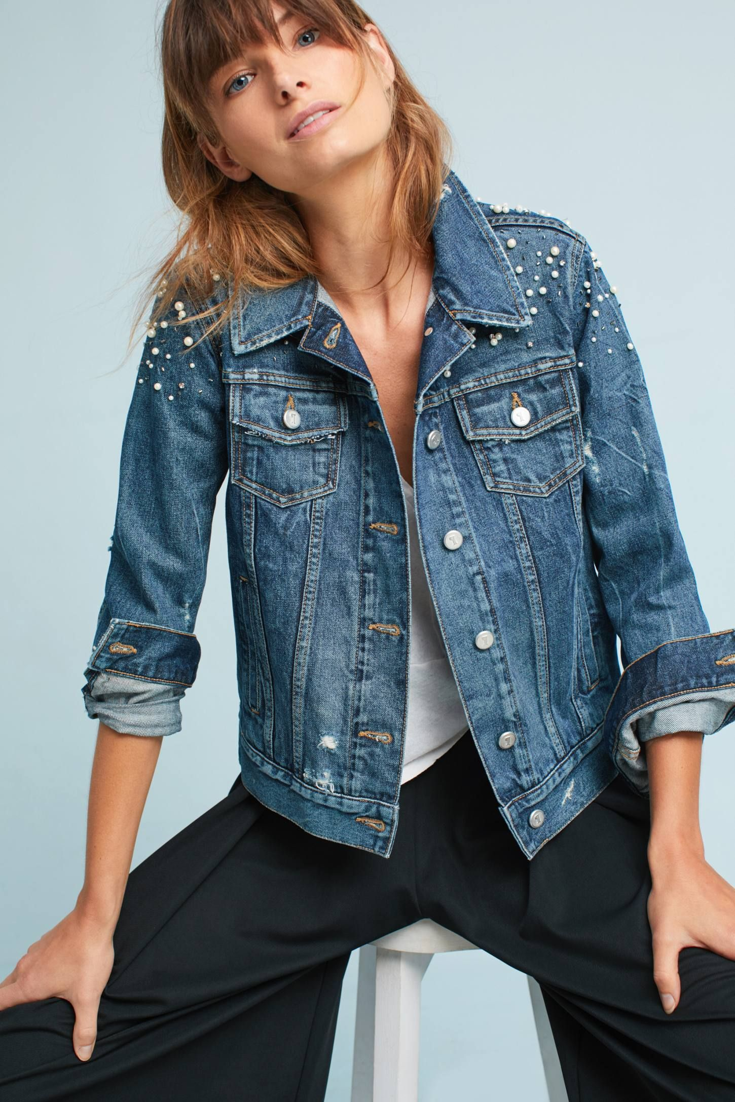 Slide View: 3: Pearled Denim Trucker Jacket