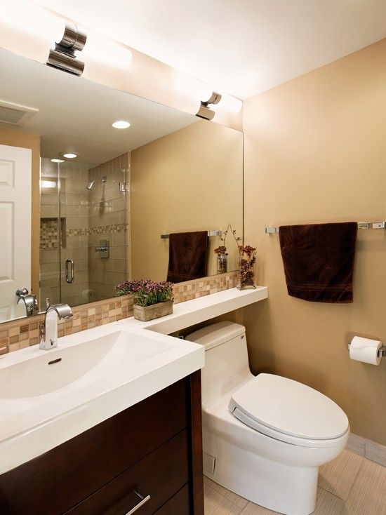 Bathroom small bathroom bathrooms pinterest small bathroom long mirror and bath Mirror design for small bathroom