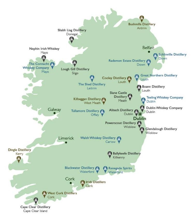 Distilleries and Breweries of Ireland Map Guide