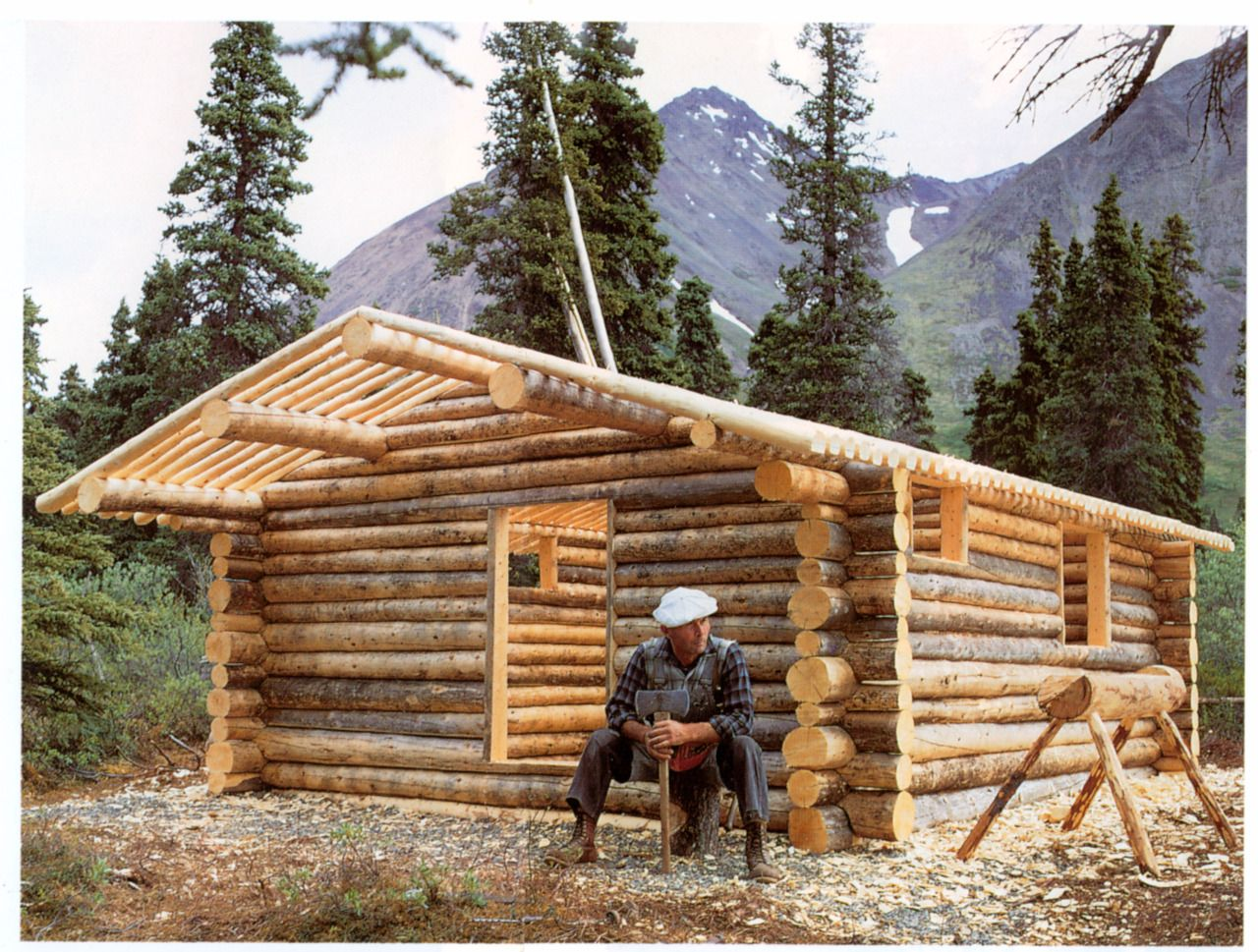 Superieur Compact Cabin Log Construction | ... Proenneke Takes A Break From Building  His Alaskan Log Cabin By Hand