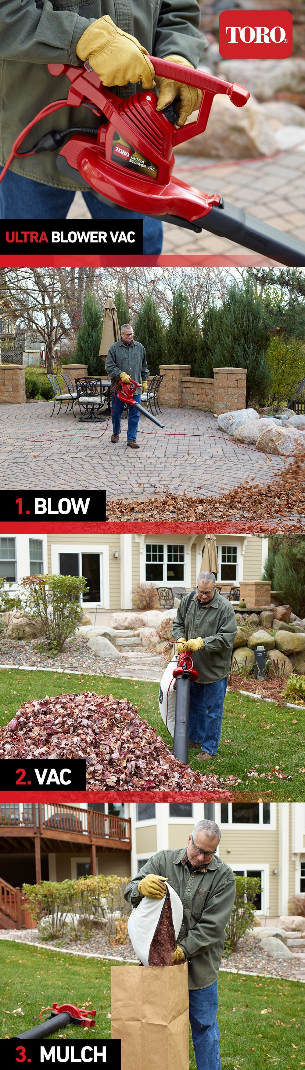 Combining 3 machines in 1, the Toro Ultra Blower Vac will help you simplify your lawn care routine! With a blower, a high-speed vacuum, and a leaf shredder all rolled into one, the Ultra is the helper you need to keep your yard looking great.