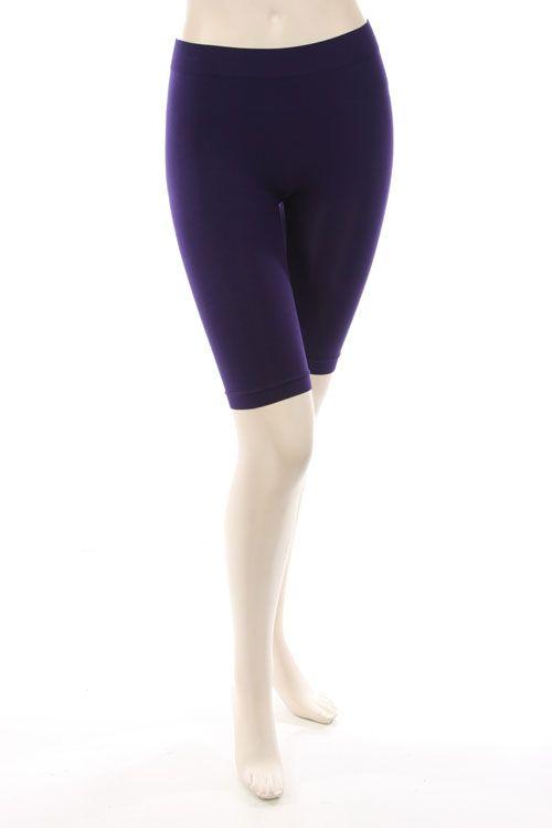 SOLID KNIT SEAMLESS TIGHTS-Purple