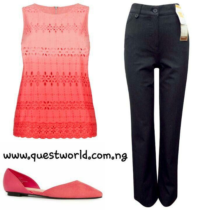 Ombre Broderie Vest Top Size 8 10 14 16 18 #4500 Cotton Rich Trousers size 10 14 20 22 #5500 Two part Shoes Coral shoes size 6.5/41 #6500 www.questworld.com.ng