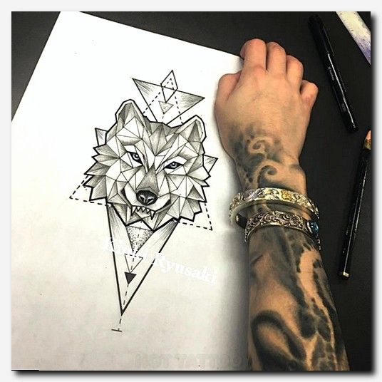 Geometric Wolf Sleeve: #wolftattoo #tattoo Sleeve Tattoo Girl Designs