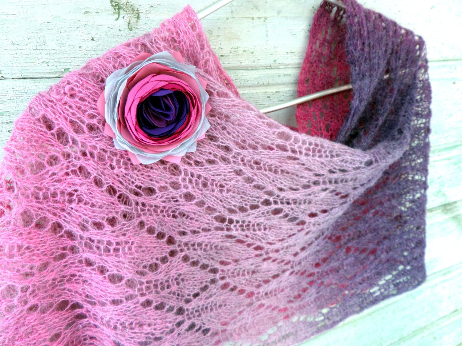 Wedding, Lace knit scarf, rustic shoulder wrap, knitting lace scarf , Shawl with brooch,  Bridal knit lace shawl, Purple knitted lace shawl by LidiaAndVary on Etsy
