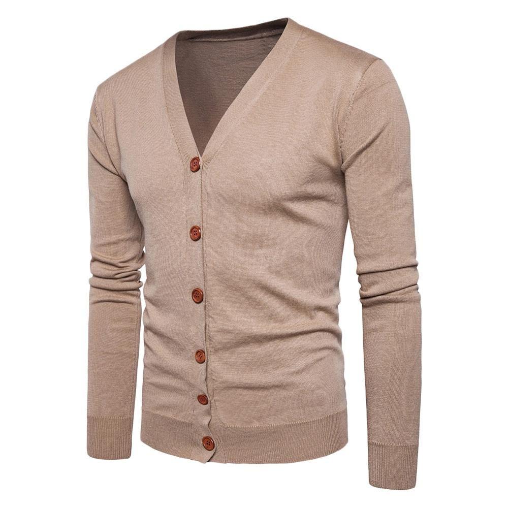 Men Autumn Cotton Winter Button V Neck Long Sleeve Knit Sweater Cardigan Coat