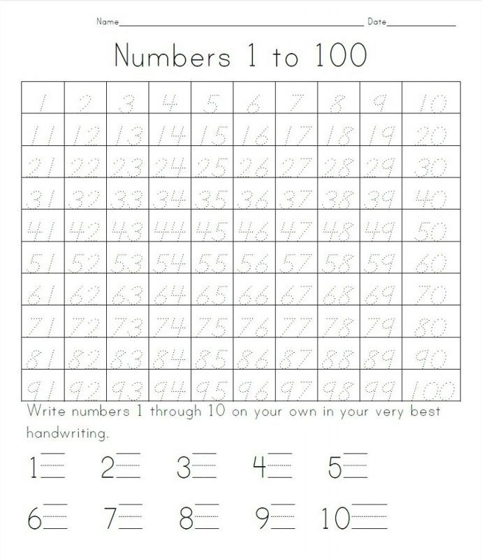 trace number worksheets 1-100 | Number | Numbers 1 100, Numbers ...