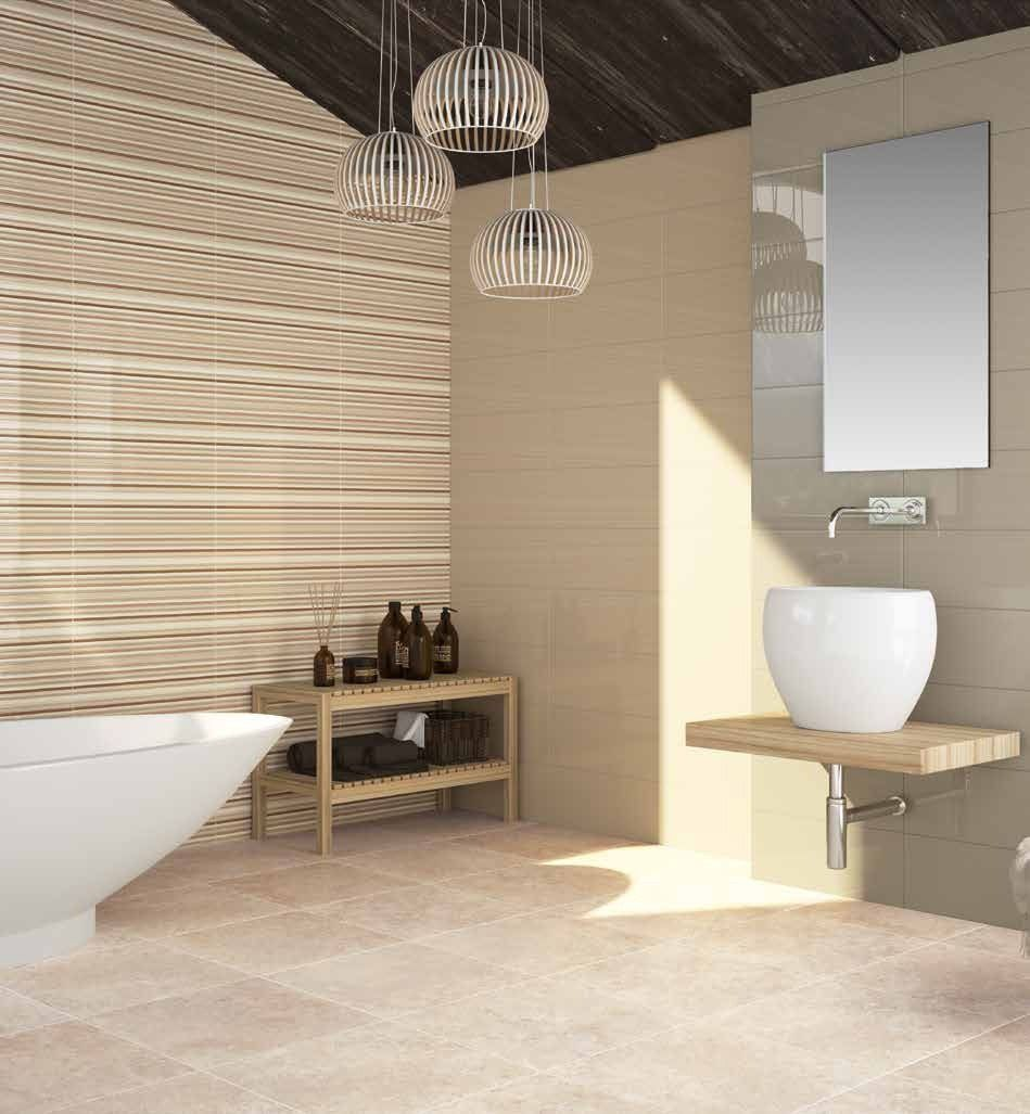 Offering simplistic class this plain cream gloss wall tile in offering simplistic class this plain cream gloss wall tile in can be used on its own or with the ondas decor for a chic modern design dailygadgetfo Images