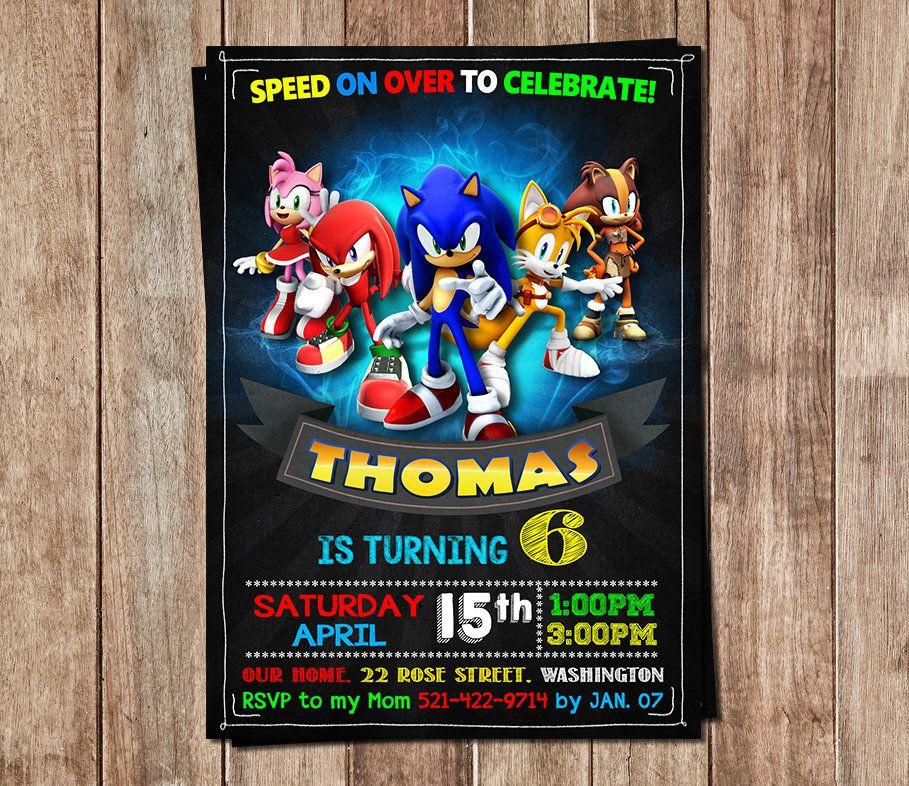 Sonic Invitación Cumpleaños Sonic Sonic Personalizados