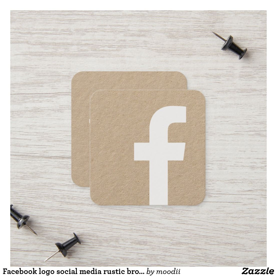 Facebook Logo Social Media Rustic Brown Kraft Calling Card Zazzle Com In 2021 Calling Cards Iphone App Design Logo Facebook