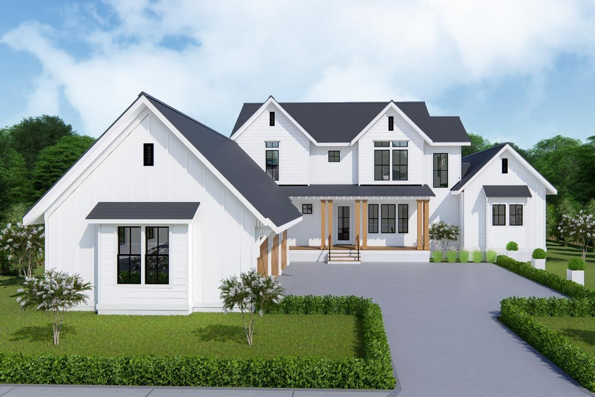 Plan 25413TF TwoStory Farmhouse Plan with FirstFloor