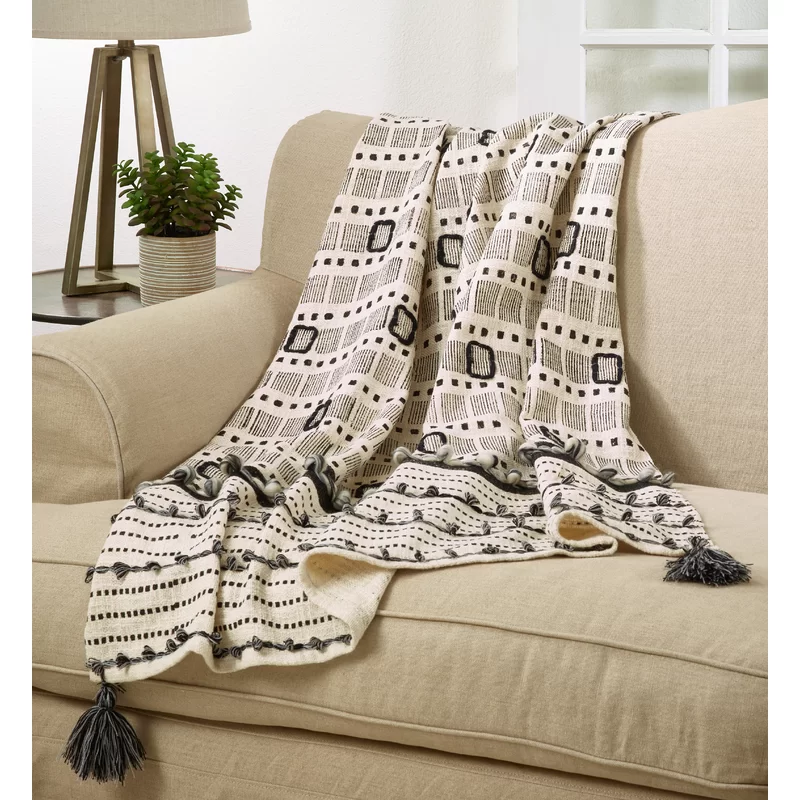 Details about  /100/% Cotton Natural Fringed Throw Bohemian Bedspread Hand woven Sofa Blankets