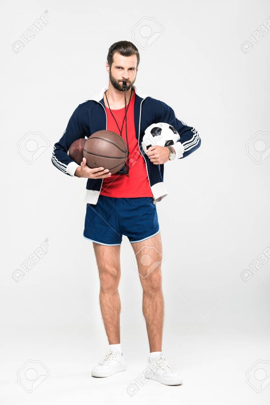 Sportive Coach With Whistle Holding Rugby Basketball And Football Balls Isolated On White Sponsored Holding Rugby Whist Football Ball Rugby Football