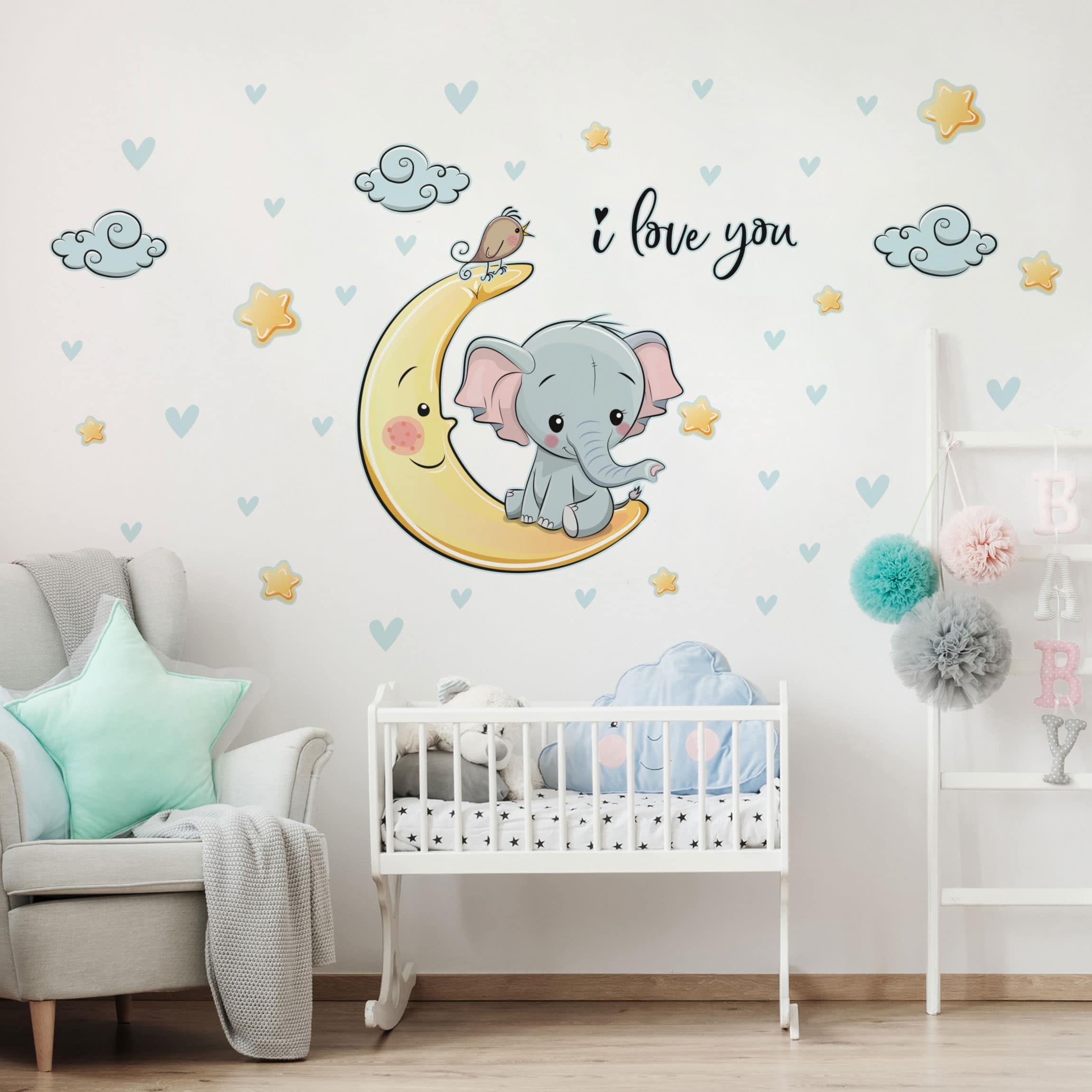 Muri Camerette Per Bambini adesivo murale bambini - elefantino sulla luna i love you