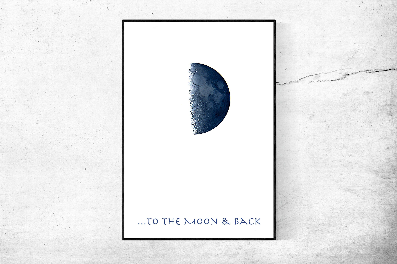 Blue moon halbmond half moon poster weiß blau fotografie